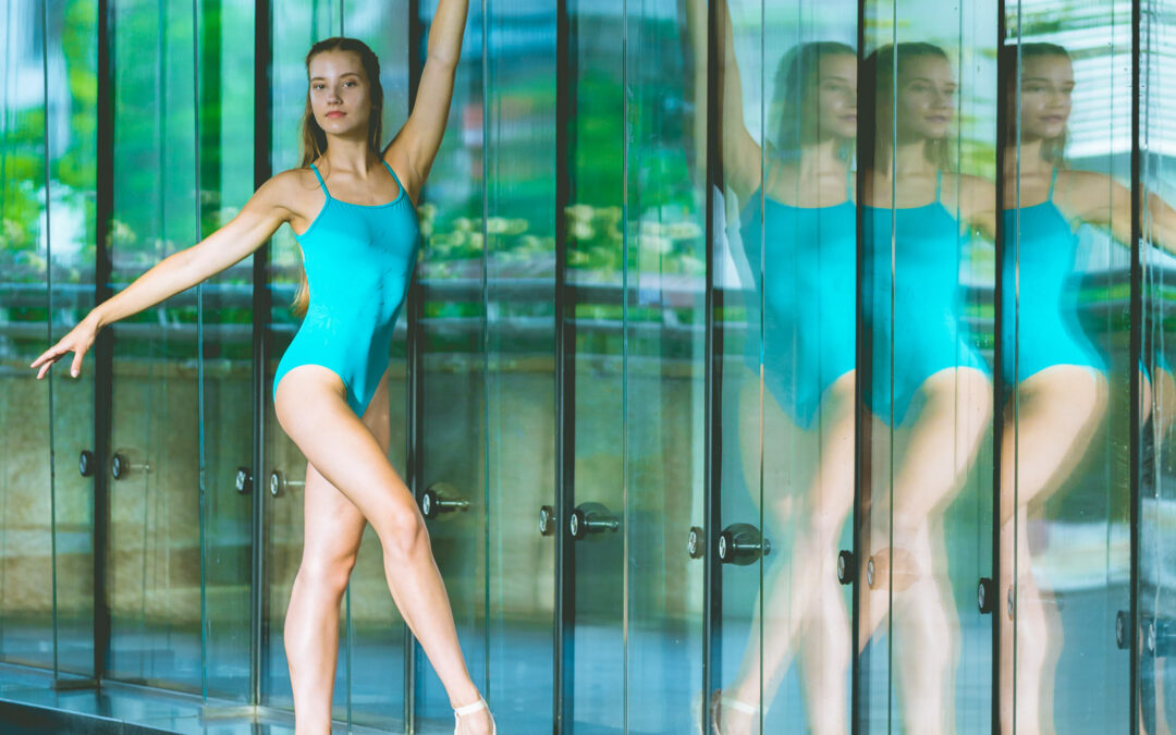 dancer reflected in windows
