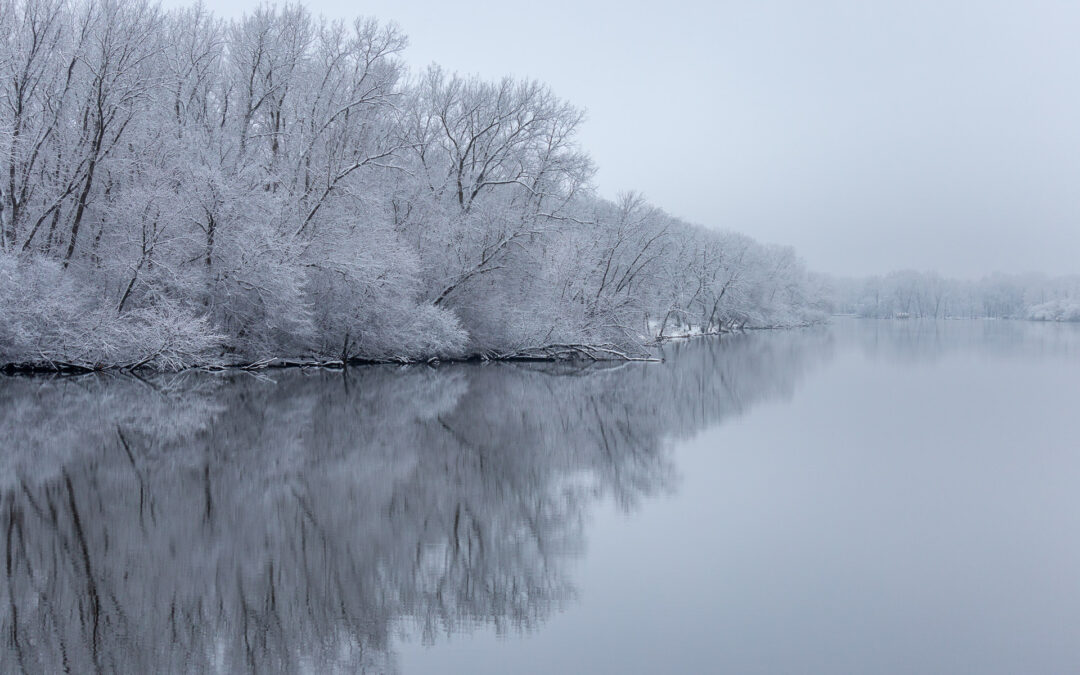 winter river reflections